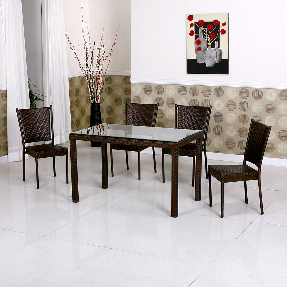 EA015 W120*D70*H75   810 4인세트 / 야외용가구 테라스가구 라탄테이블세트 카페 학교 공원 아파트 | 피카소가구