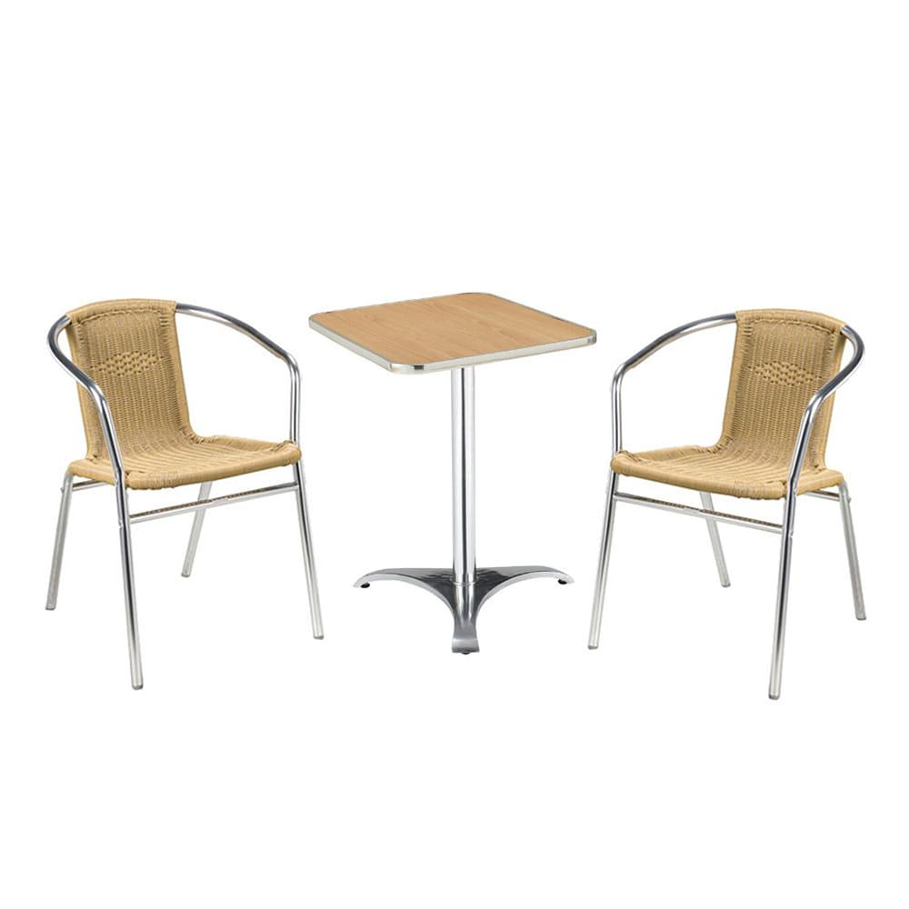 EA016 W60*D60*H70  510 2인세트 / 야외용가구 테라스가구 라탄테이블세트 카페 학교 공원 아파트 | 피카소가구
